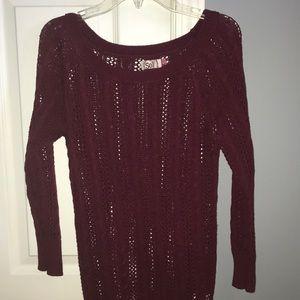 Maroon 3/4 Sleeve Knit Sweater